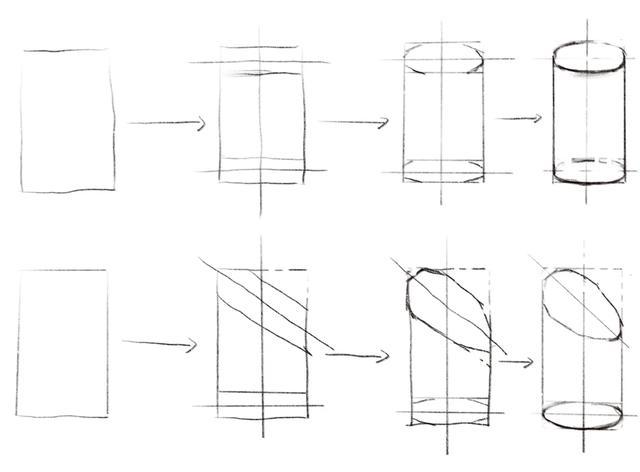圆柱结构素描画法步骤