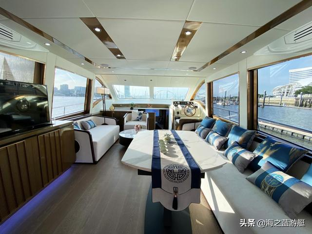 2020游艇展:普西尼璟650豪华游艇,艺术感十足的景泰蓝装饰工艺