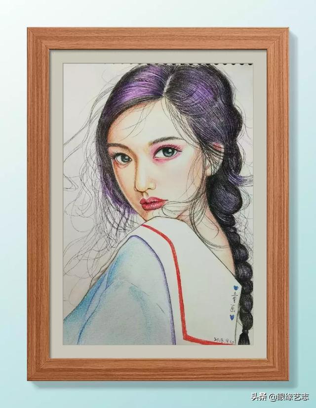 彩铅画可爱动漫少女