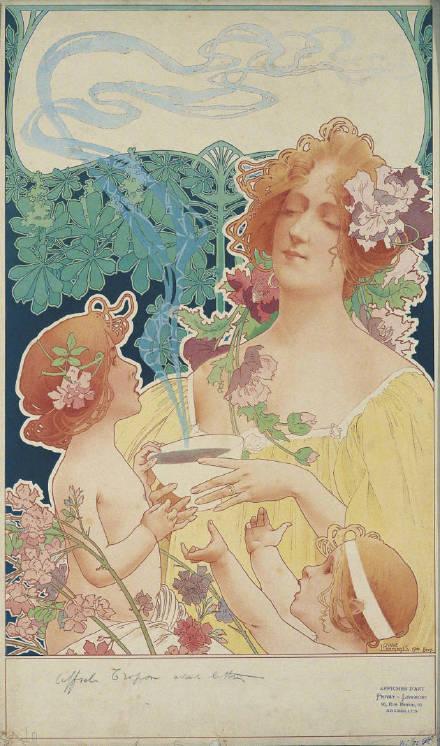 19世纪末新艺术风格海报设计,比利时艺术家HenriPrivat-Livemont