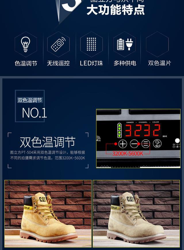 图立方led摄影灯套装PT504人像静物产品摄像短视频儿童摄影常亮灯