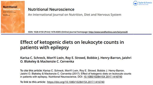 生酮饮食会影响癫痫患者的血细胞计数吗?最新研究告诉你
