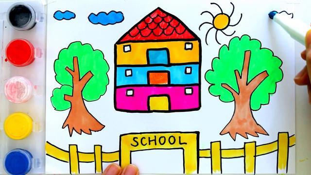 美丽的校园画画图大全