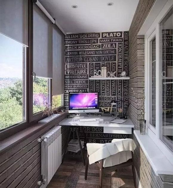 你家阳台还只晒衣服吗?阳台书房这样装好用又好看!