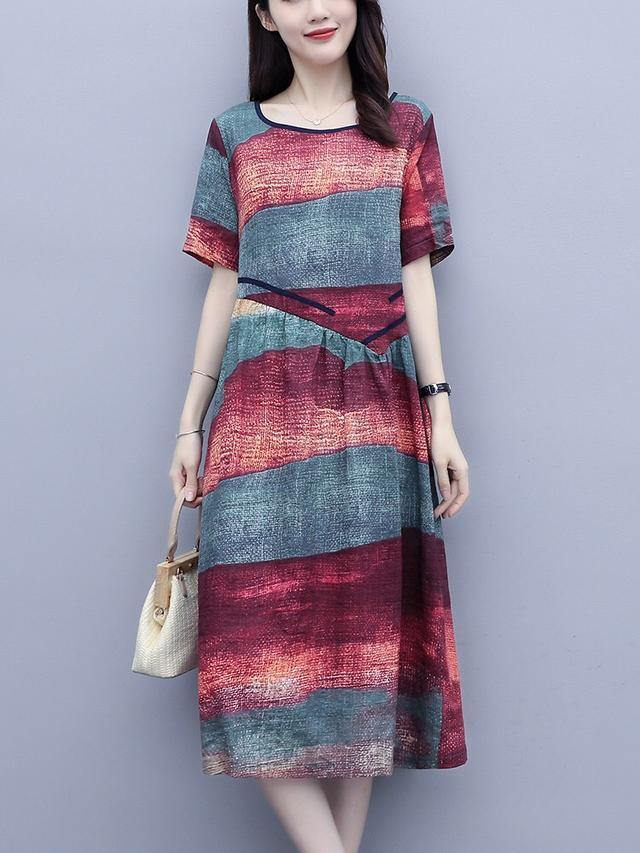 复古民族风棉麻连衣裙