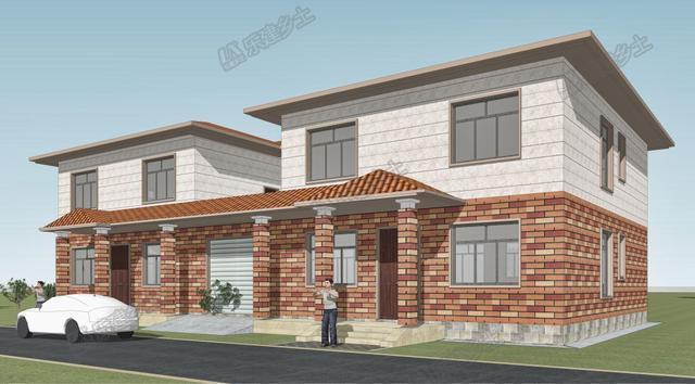 二层双拼自建房设计,中间共享堂屋露台,效果别致
