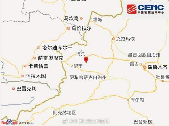 新疆精河县发生5.4级左右地震 乌鲁木齐等地有震感