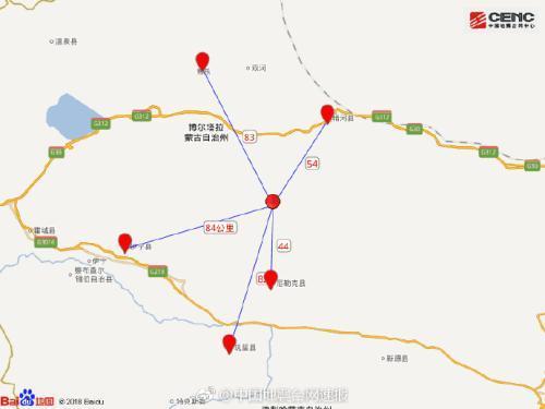 新疆精河县发生5.4级地震 震源深度10千米