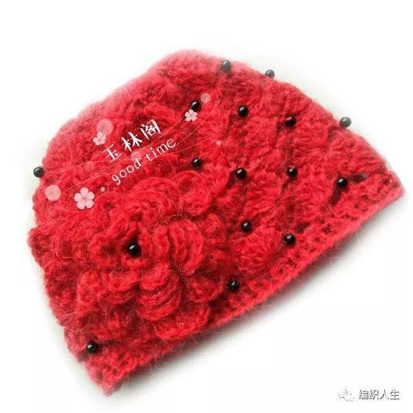 牡丹蓓蕾帽:好看又好钩的镶珠钩针花朵帽(附教程)