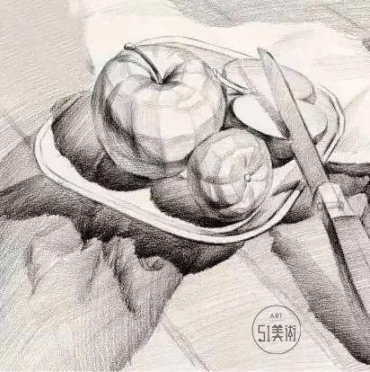 素描静物基础水果图