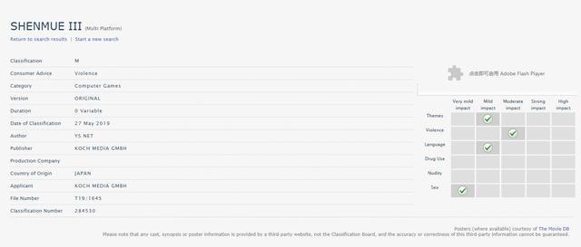 """《莎木3》通过澳大利亚网站评级 获评""""M""""成人级 开放世界 游戏资讯 第1张"""