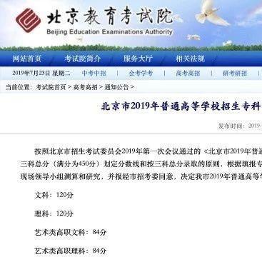 2020年北京专科分数线-北京专科录取分数线