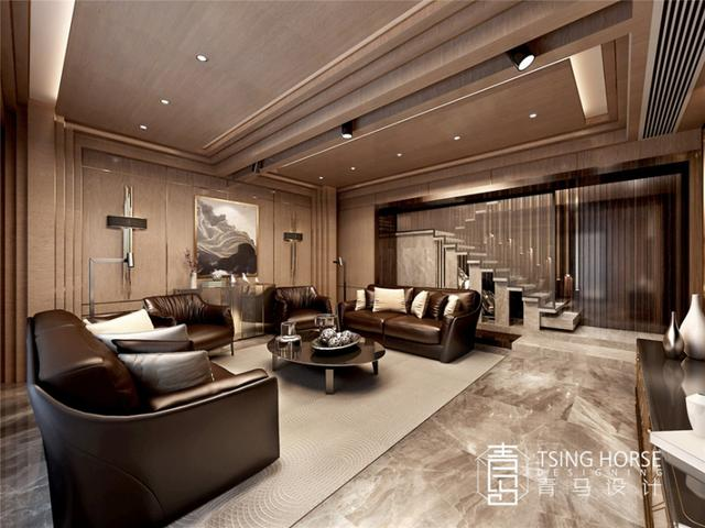 380平现代风别墅设计,挑高客厅,多彩搭配
