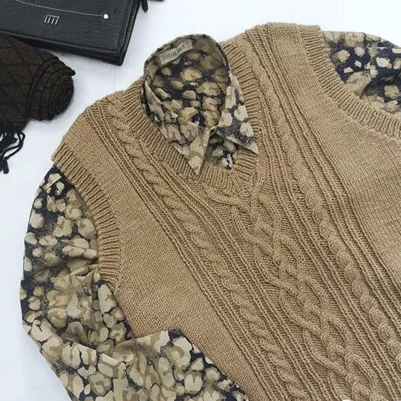 喵夫人大雪:向暖编织男士棒针麻花背心