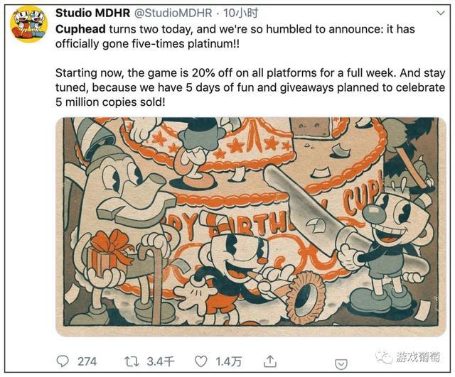 Steam上好评如潮的《茶杯头》发售两年销量突破了500万份 Steam 游戏资讯