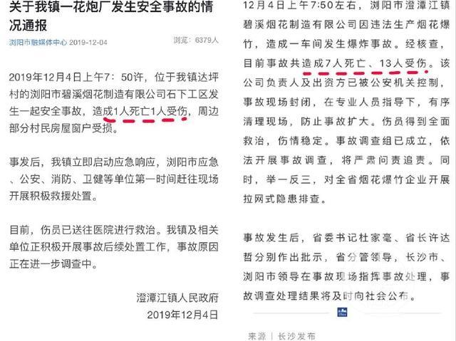 湖南浏阳烟花厂爆炸事故致7死13伤,曾因安全生产违法违规被罚款1万 负责人及出资方被控制