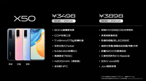 vivo X50系列正式发布 售价3498元起