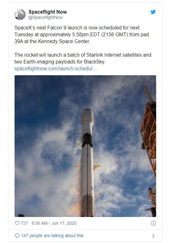 """SpaceX计划再执行一次""""星链""""任务 试图创造新的发射纪录"""