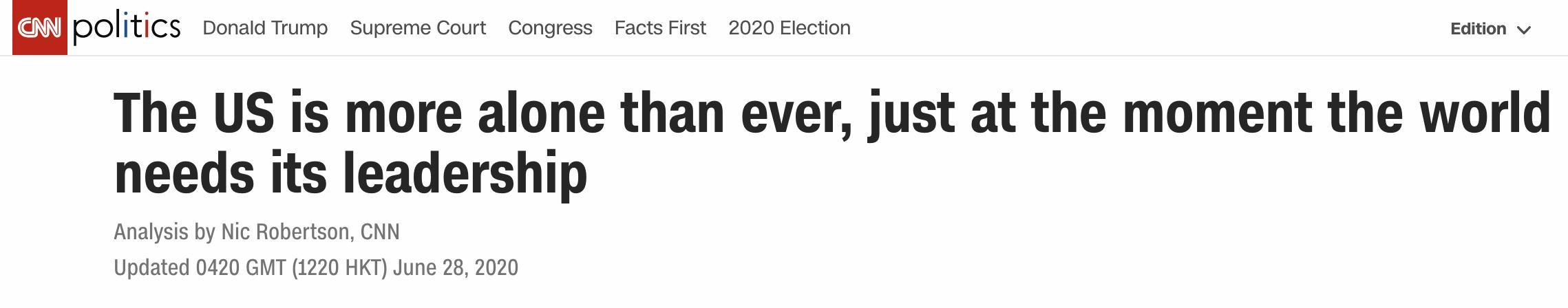"""美媒:""""美国优先""""令美国更加孤单"""