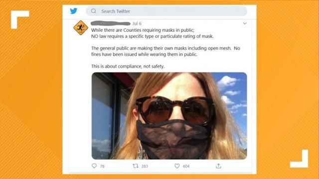 """报道称美国一些抗议者使用没有任何保护作用的口罩,以""""遵守""""规定"""