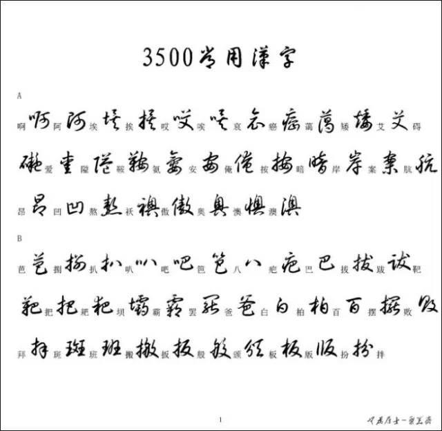 草书3500常用字
