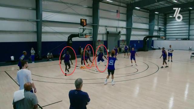 【影片】赤裸裸的羞辱!Simmons在隊內賽上命中三分遠投,可在場球員們都在集中搶籃板!-籃球圈