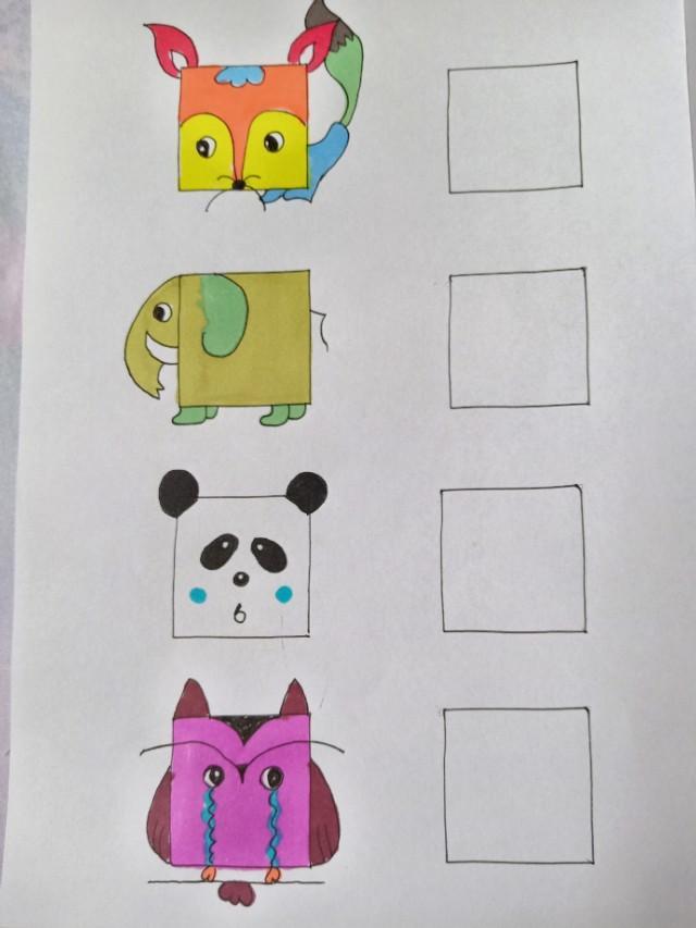 一个奶奶给孙子画的正方形简笔画太全了可以打印