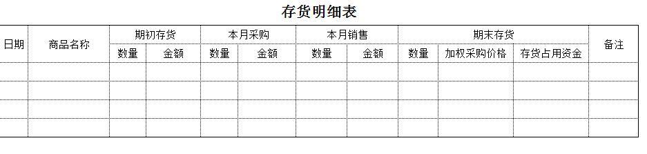 财务记账表格模板图片