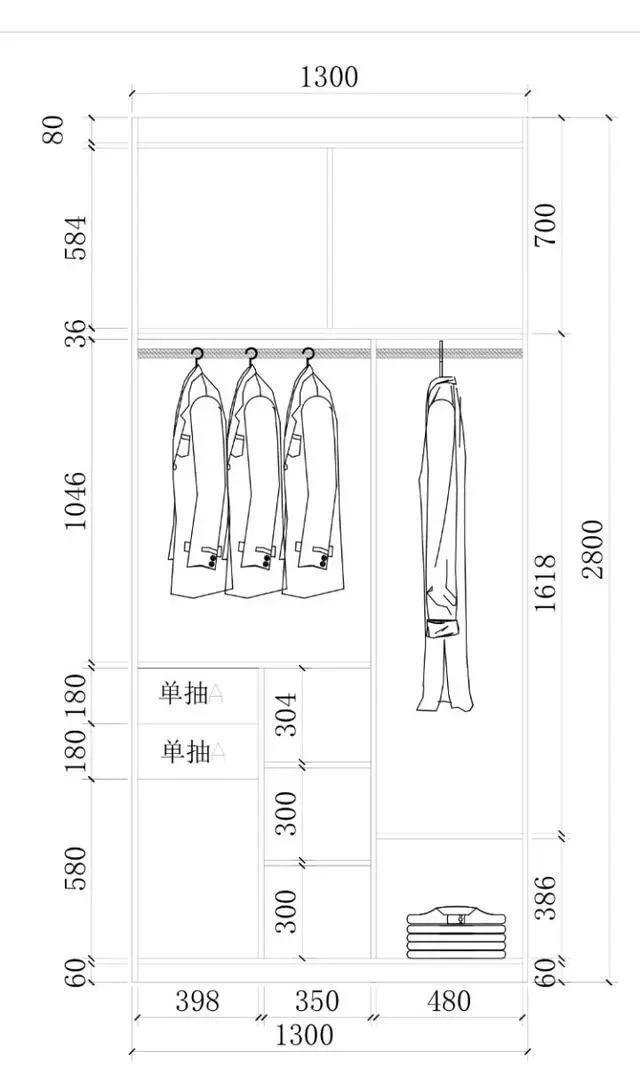 超实用衣柜内部结构设计图_齐家