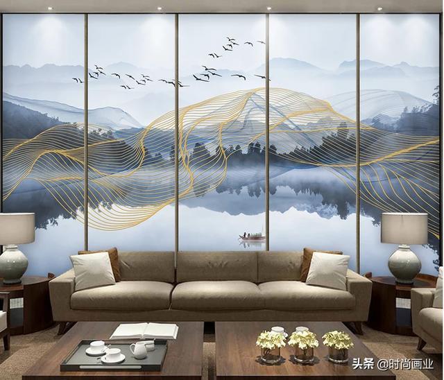 新中式抽象金色线条意境山水倒影电视背景墙