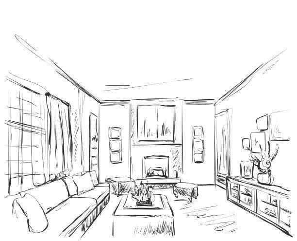 钢笔淡彩室内手绘精品-景观网