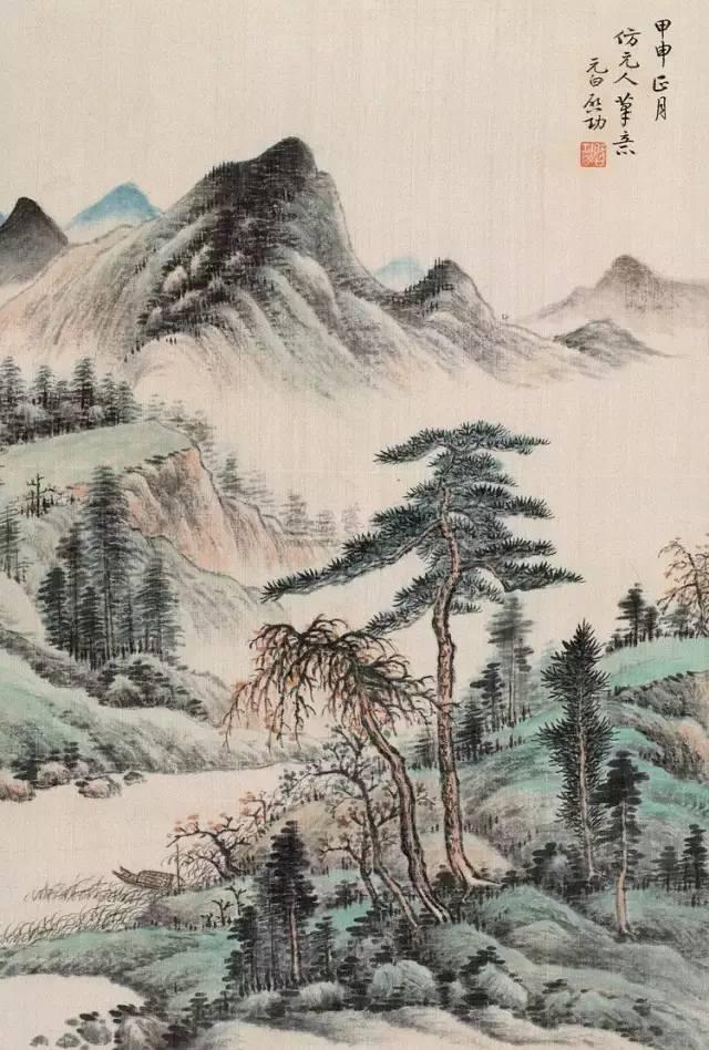 名家竖幅国画山水画