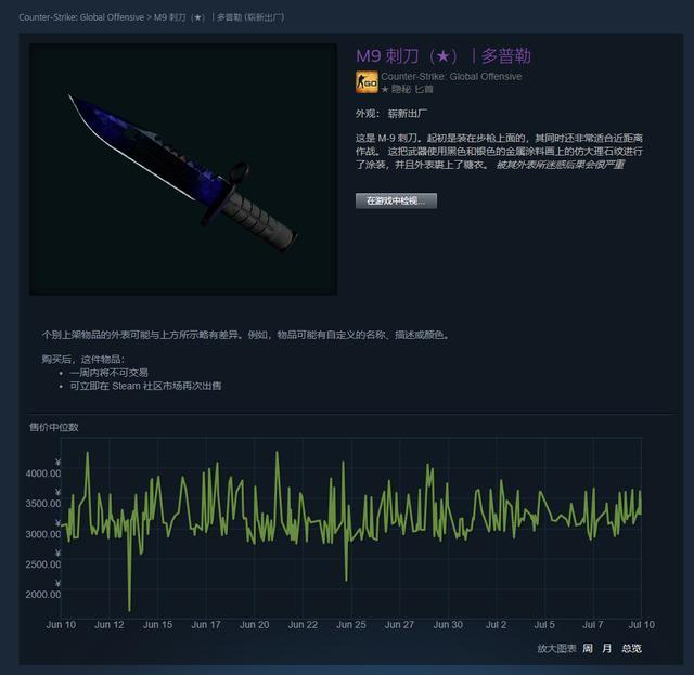 CSGO皮肤推荐——多普勒M9刺刀