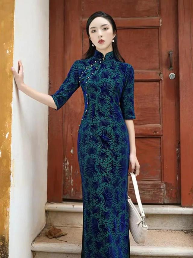 高档品牌金丝绒旗袍裙
