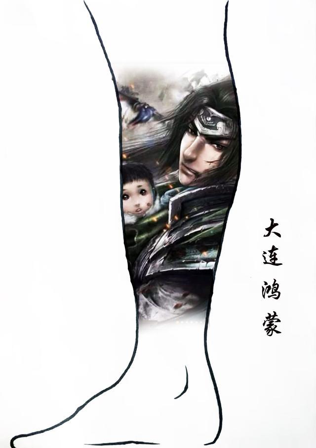 小腿纹身图案男手稿