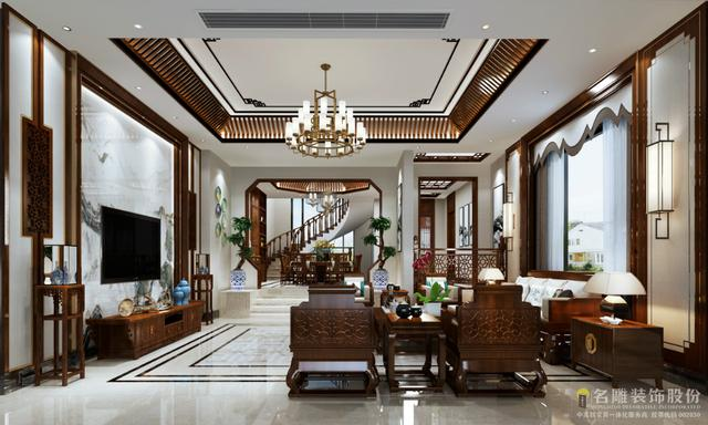 550平中式别墅,一进门被客餐厅设计吸引了眼球,也太漂亮了吧