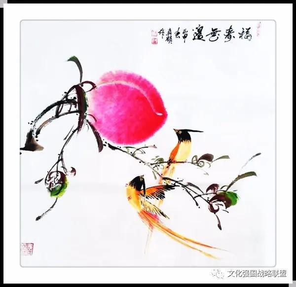 名家视野 崔先寿(真硕)的寿桃绘画:灿烂夺目,绚丽之极