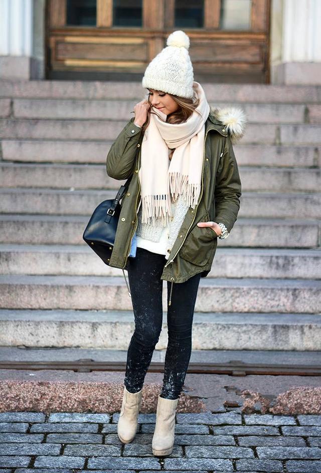 这样搭配半身裙打底裤,保暖又时尚!
