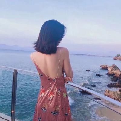 背影图片女生唯美海边