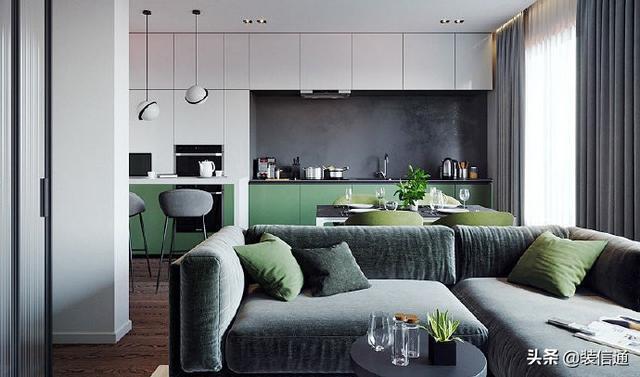 杭州装修|37m²简约风单身公寓,冷棕墨绿色调太好看了吧