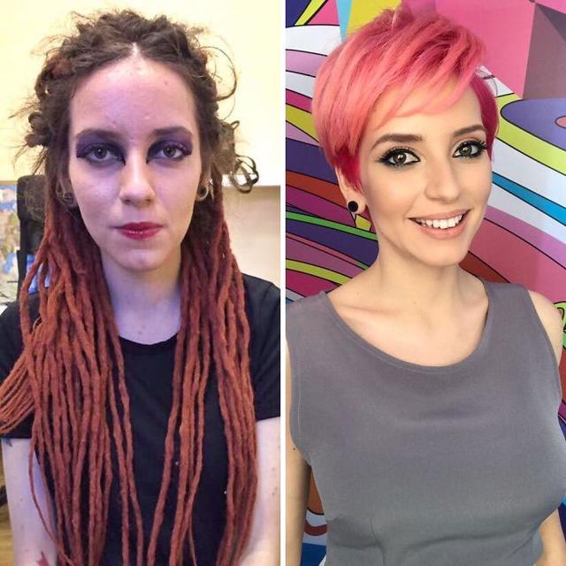 几张女子化妆前后的对比图,第六张亮了