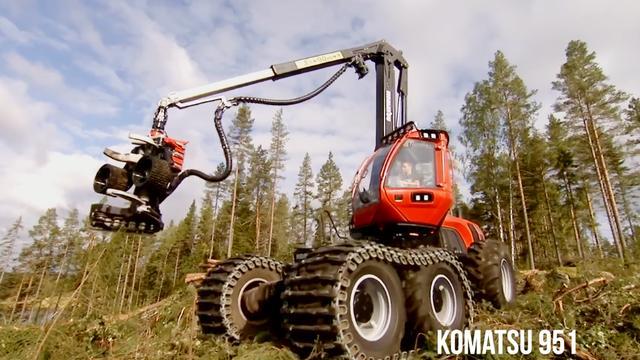 德国制造的伐木机械就是厉害 真不愧是世界工业大国