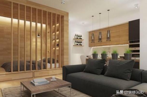40平米一居室 小户型客厅卧室一体装修设计效果图_装信通网效果图