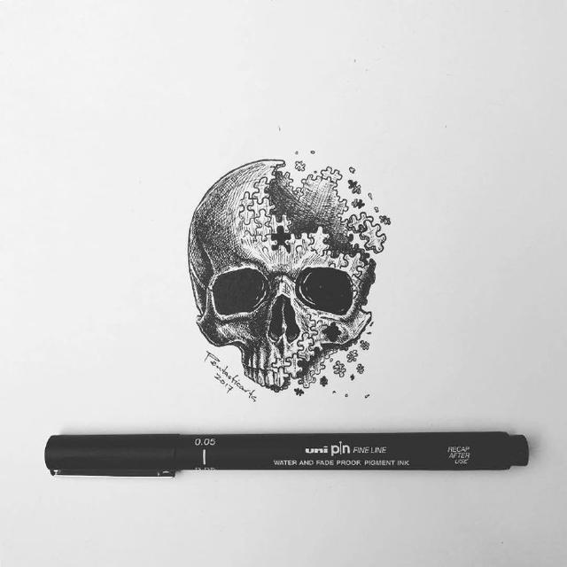 创意插画,针管笔手绘