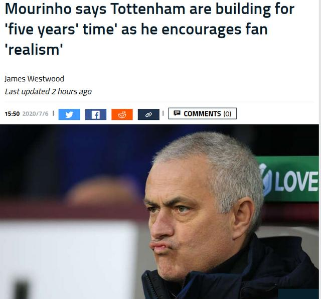 穆里尼奥劝热刺球迷现实一点:我们5年内可能成功