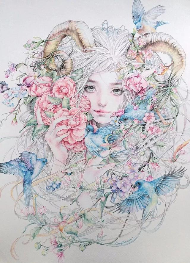 人物画卡通少女彩铅画