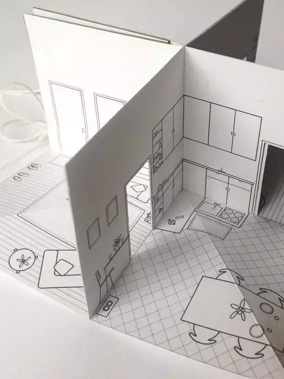 手工DIY折纸,教你折纸一个3D立体纸房子