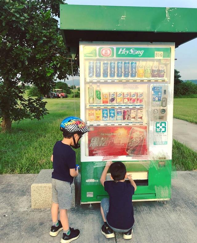 陈若仪带双胞胎儿子外出,聪明的4岁双子星已会使用自助售货机