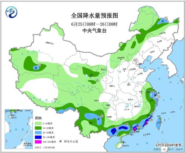 全国1一7降水量预报图