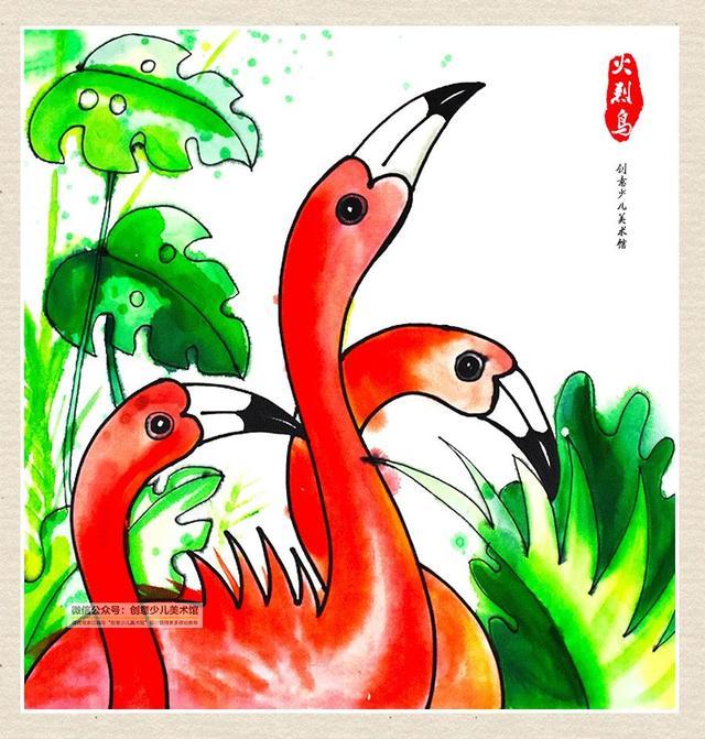 一对火烈鸟卡通手绘素材图片免费下载-千库网